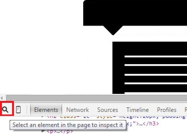 click on the Chrome Select an element in the page to inspect it icon