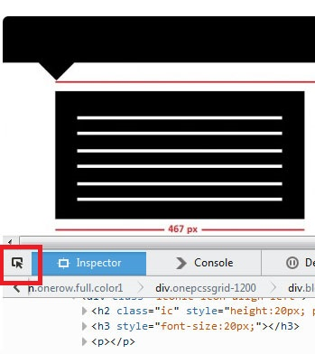 click on the Mozilla Firefox Select an element in the page to inspect it icon